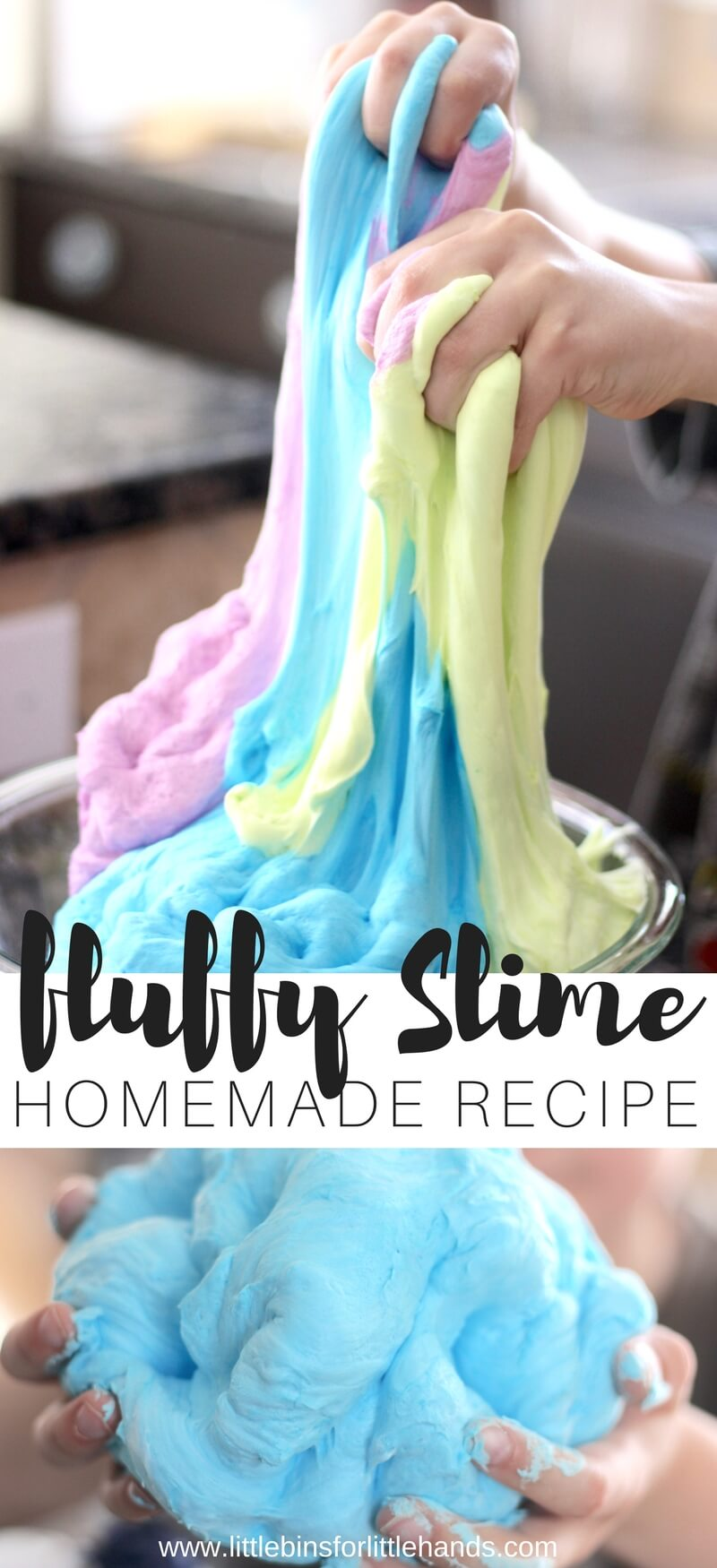Learn how to make fluffy slime with glue, shaving cream, and saline solution. Making slime is fun and easy with our homemade slime recipes!