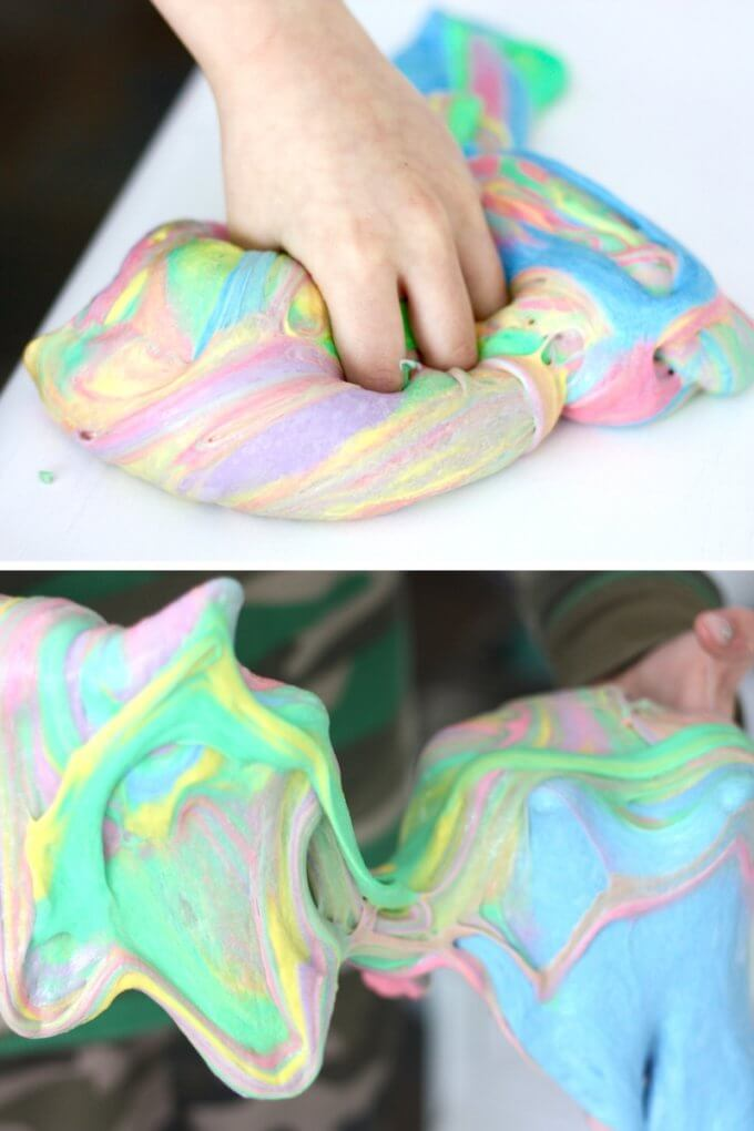 Making unicorn slime recipe with kids