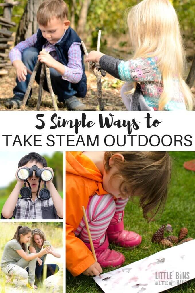 Take STEAM outdoors with simple ways to include outdoor science, outdoor technology, outdoor engineering, outdoor art, and outdoor math activities, experiments, and challenges for kids