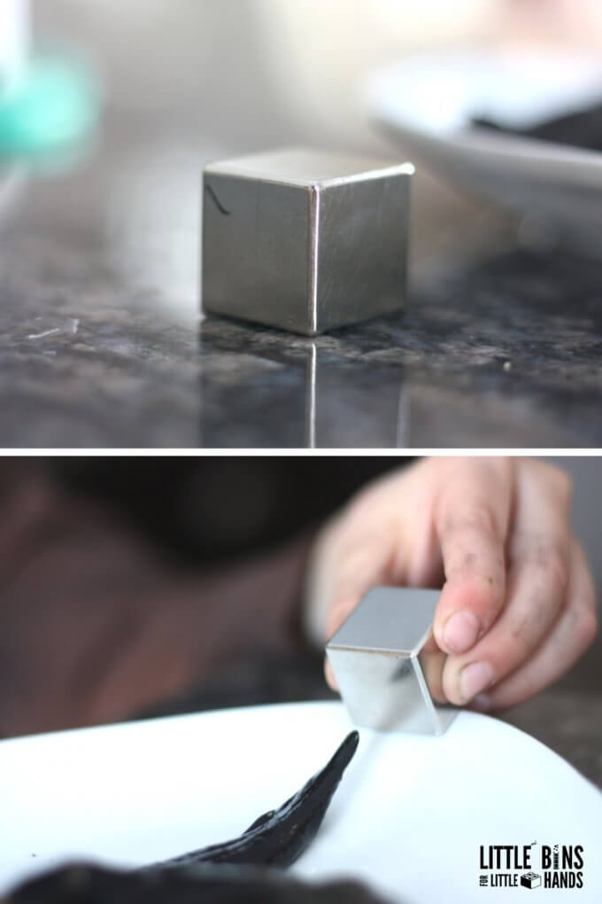 Neodymium magnets and magnetic slime recipe for kids science