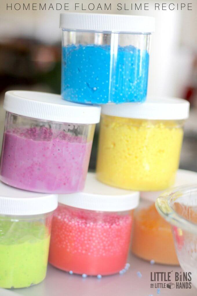 Homemade floam slime for kids!