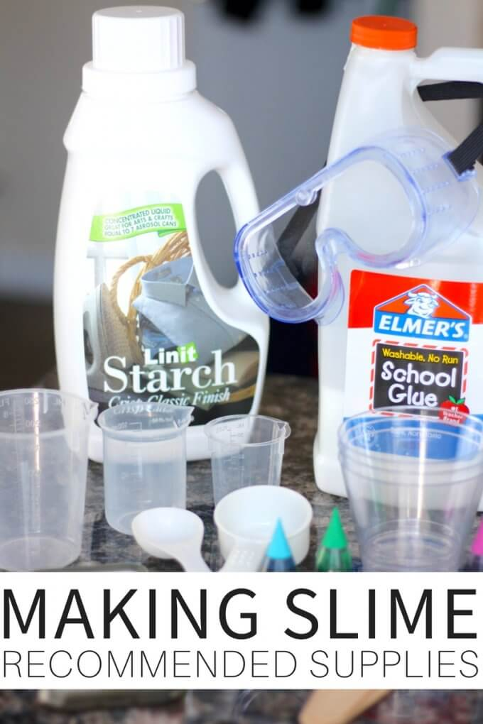 recommended supplies for making slime