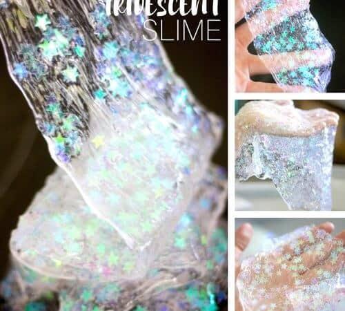 Make Iridescent Slime Recipe with Confetti Stars