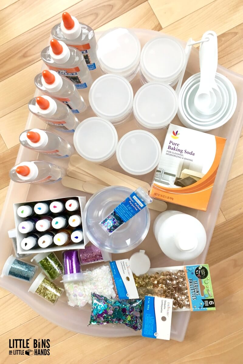Contact solution slime recipe supplies and slime kit for making slime.