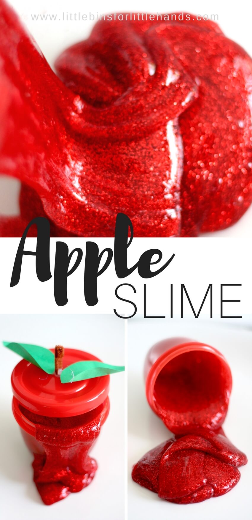 We are waiting for the crispy, juicy apples of fall to roll around again. I don't know about you, but we have a tough time finding tasty apples here at the end of summer. So while we wait and dream for lush apple orchards to pick whatever we want, we decided to make an apple theme slime recipe instead. Making homemade slime is super simple science and sensory play and even better with a fun theme!