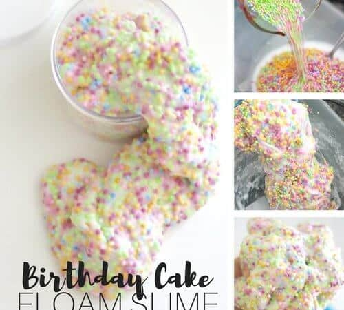 Homemade Birthday Cake Floam Slime Recipe for Kids