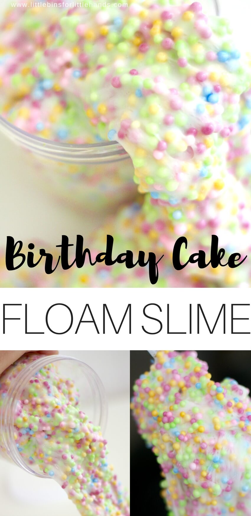 Foam and slime combine to make floam and you can make your very own homemade birthday cake themed floam slime recipe with our easy method! There's even a video! Floam is a super cool texture and is nice and stretchy too. You can even turn it into a bit of a science experiment as you find your favorite floam consistency. Slime science meets sensory play for a win!