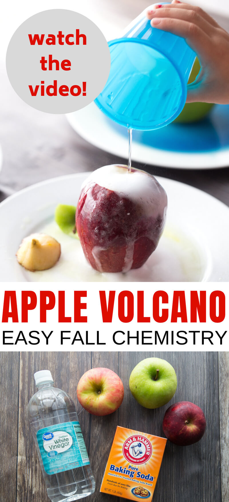 Erupting Apple Science Activity with Apple Volcano. Fall chemistry for kids with baking soda volcano activity.