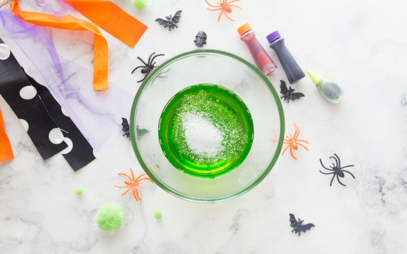 Halloween Slime Recipe Adding Glitter