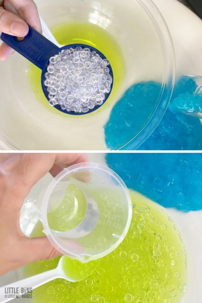 adding fishbowl beads and saline solution for homemade crunchy slime recipe