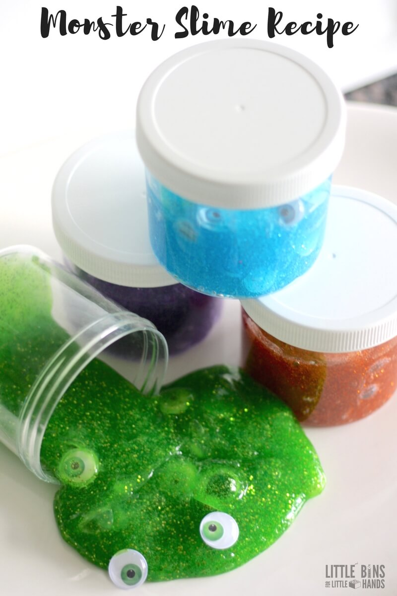 Learn how to make our homemade monster slime recipe for easy kids activities and kids science experiments or demonstrations.
