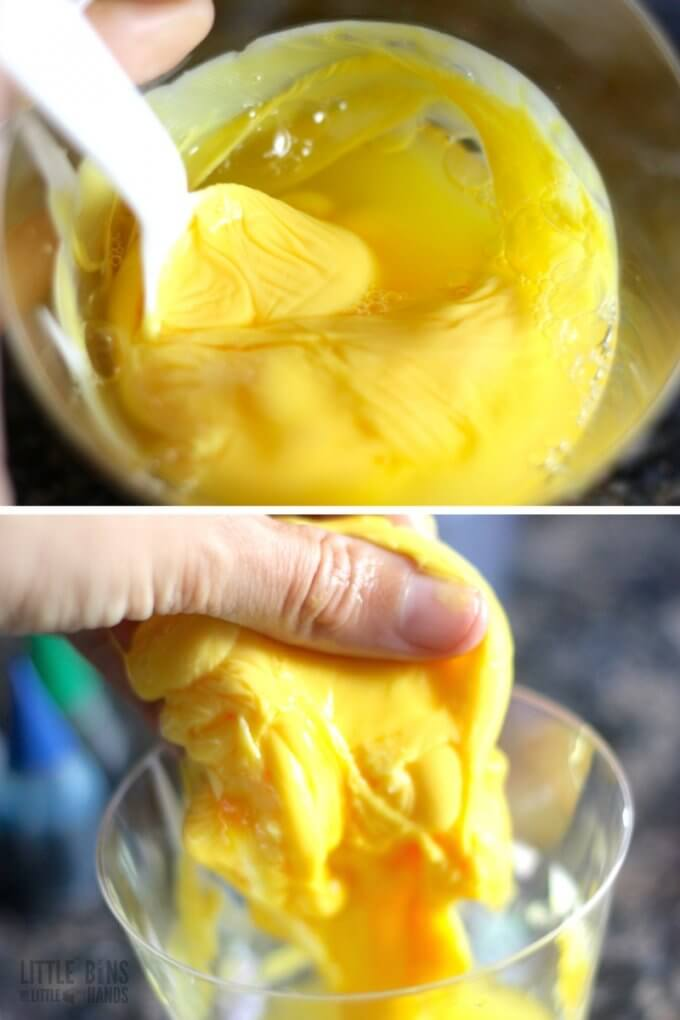 Homemade Thinking Putty Recipe Steps Stirring