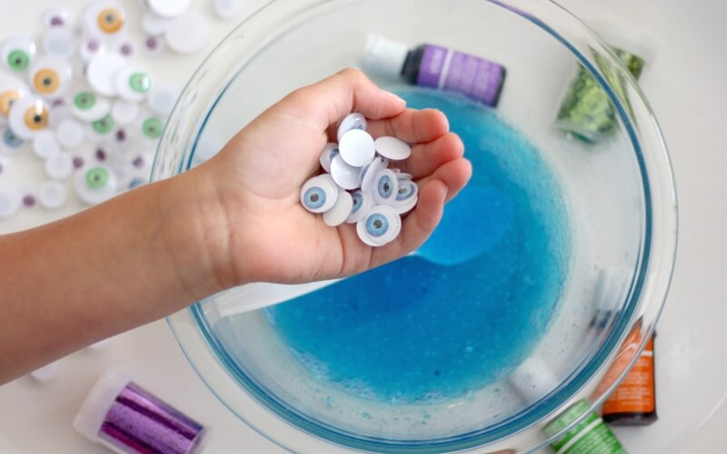 add google eyes to monster slime recipe with saline solution