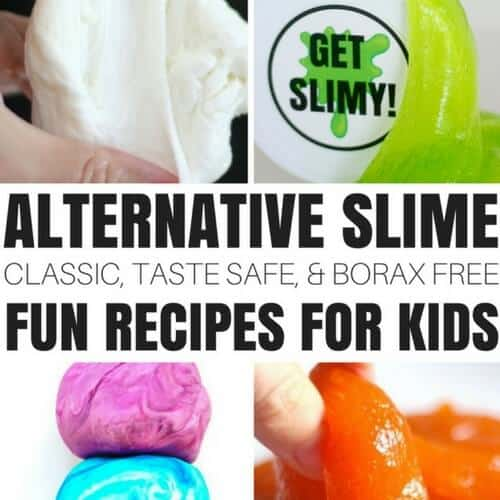 Learn how to make alternative slime recipes including borax free, taste safe, edible, saline, fluffy, and more!