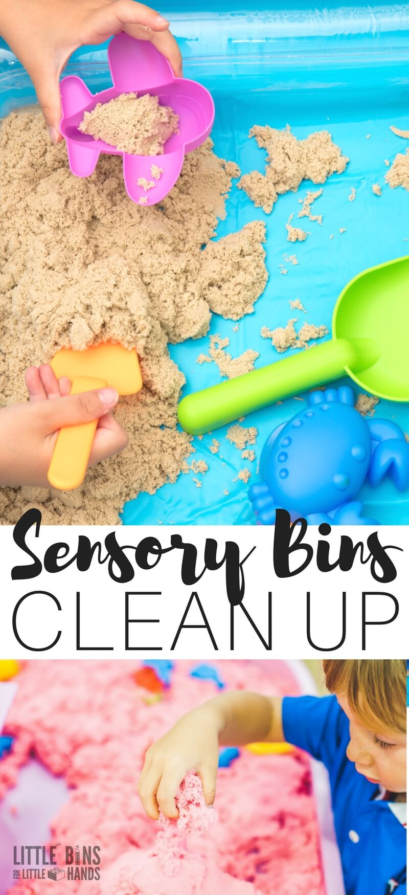One of the biggest complaints I hear from parents, caregivers, and teachers in regards to sensory bins is the clean up! We all know the benefits of sensory bins must surely outweigh the potential mess they can make, right? Instead of choosing to forgo the sensory bin experience, learn how to clean up sensory bins in a snap instead. A couple easy tricks and tips will have you loving sensory bins in no time.