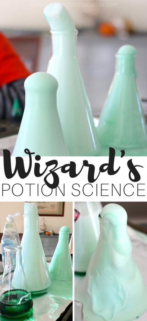 Simple Elephant's toothpaste with a Halloween chemistry experiment for kids with wizard's brew! Set up a hydrogen peroxide and yeast exothermic chemical reactions and Halloween science activity for your little wizard or witch! Halloween chemical reactions with simple household supplies make learning fun. The perfect Halloween science experiments for kids to try at home or to do in a classroom.