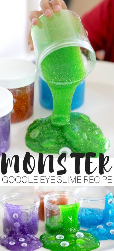 The easiest monster slime recipe and DIY monster slime jars. Monster's Inc, Ghostbusters, Purple People Eater, whichever you like our monster slime recipe is perfect for all things gooey, monstery, and gross. But it's slime so it's totally cool. This doesn't have to be just for Halloween, you can whip up a batch of amazing monster themed slime any day of the year using any one of our homemade slime recipes. MONSTER SLIME RECIPE FOR KIDS TO MAKE