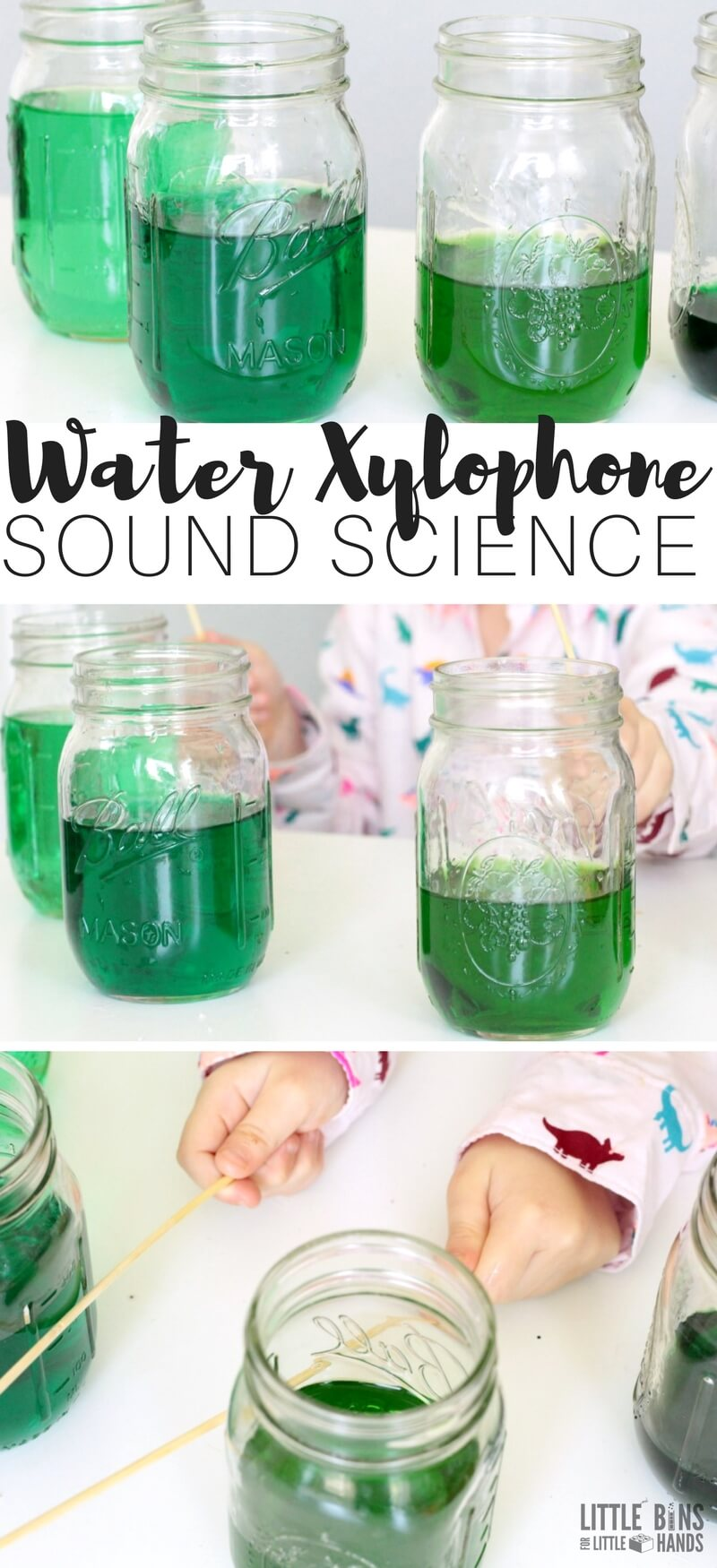 Make a homemade water xylophone sound science experiment for kids. A playful way to explore the science of sound with an easy kitchen science experiment and DIY water xylophone activity.
