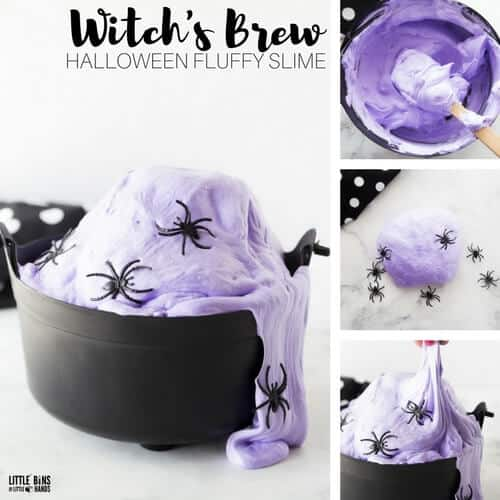 Witch Fluffy Halloween Slime Recipe Idea for Kids