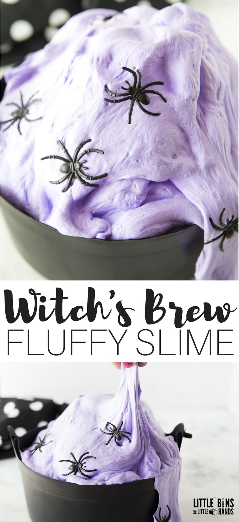 Awesome and easy to make homemade fluffy Halloween slime recipe with a wizard or witch theme! We have tons of Halloween slime ideas and Halloween slime DIY recipes perfect for kids to enjoy all season long. Halloween slime for kids is also perfect for science activities and sensory play activities.