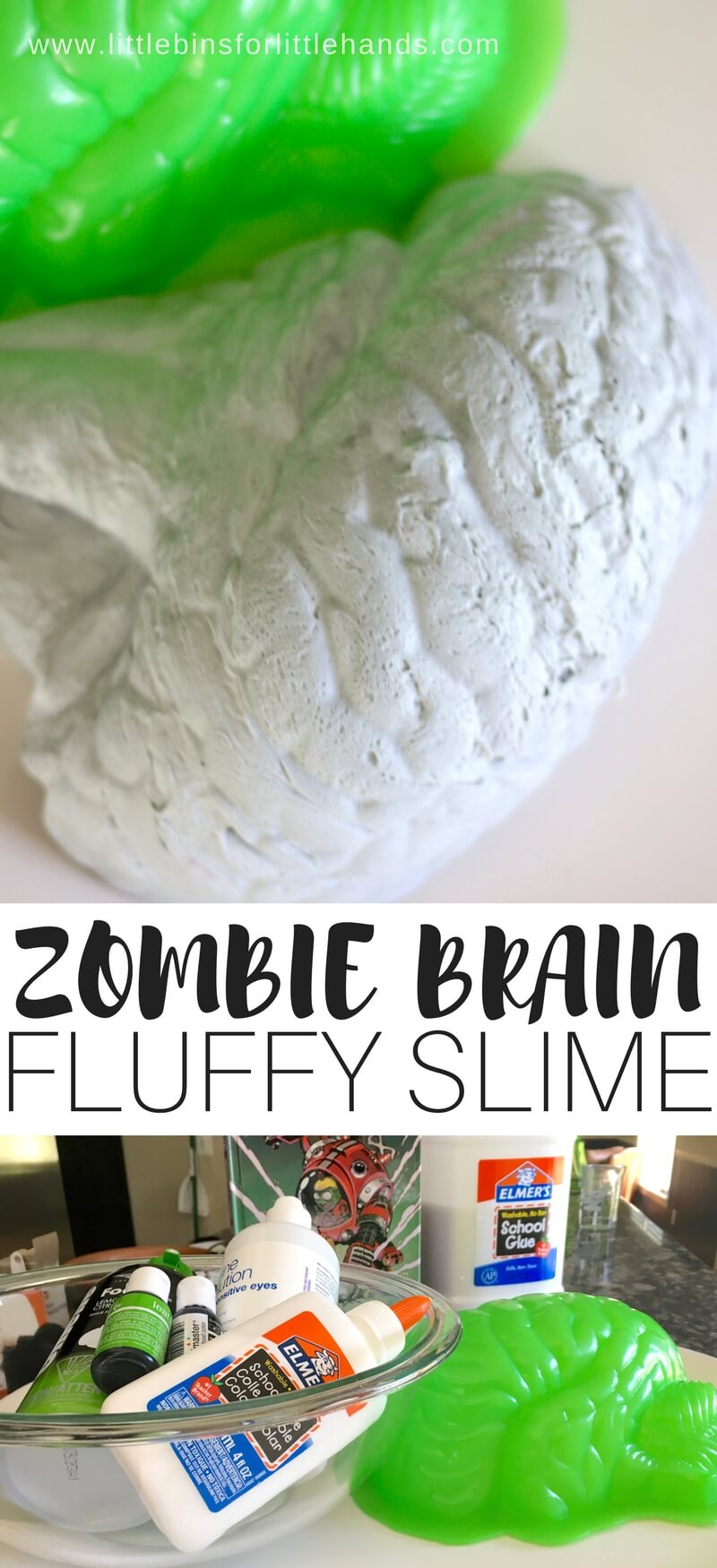 Learn how to make homemade zombie slime with our fluffy slime recipe! Fun Halloween slime recipe idea with zombie brains. Use our easy fluffy slime shaving cream recipe for making homemade slime perfect for kid science and sensory play.