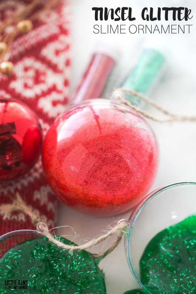 How To Make Christmas Slime Recipe Using Tinsel Glitter