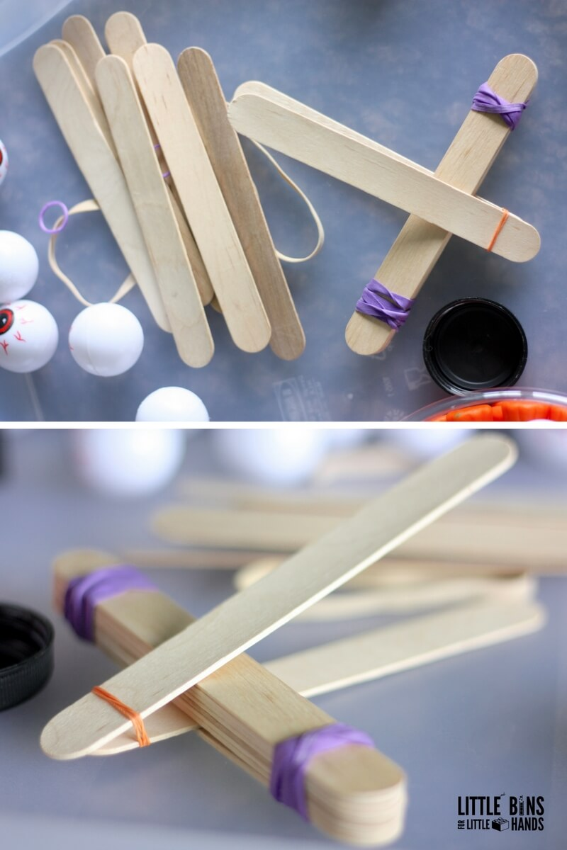 Building Halloween Popsicle Stick Catapult STEM Activity for Physics Activities