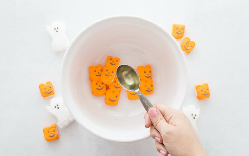 Adding oil to pumpkin Peeps for making taste safe slime