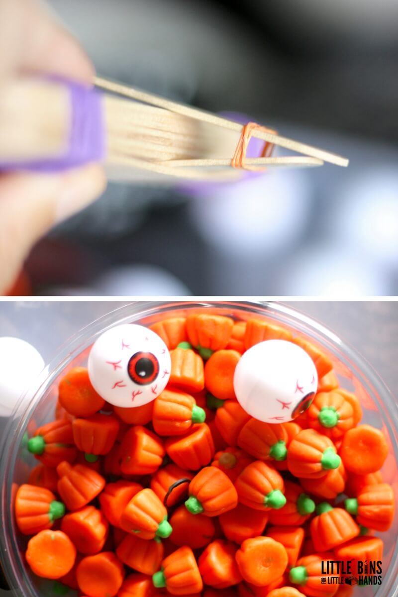 Making Jumbo Craft Stick Catapult with Halloween Science Experiment and STEM Activity for kids