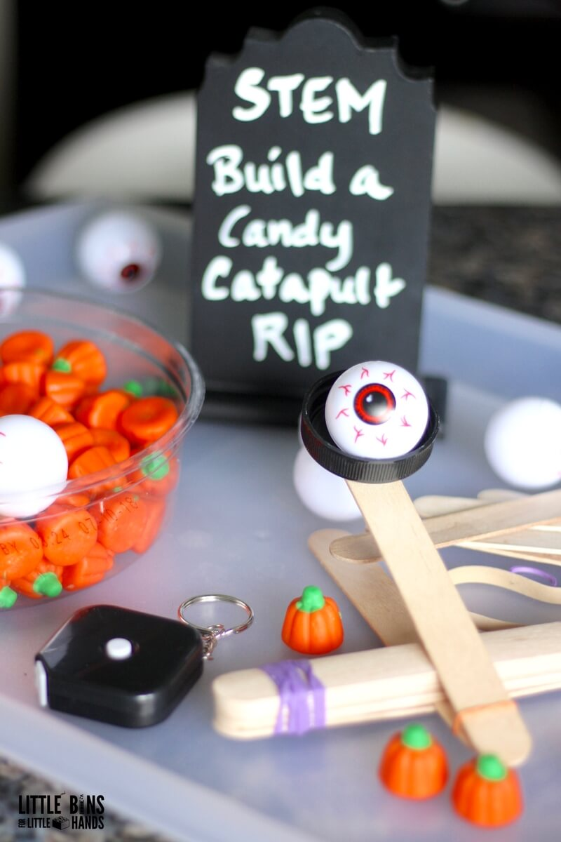Explore science, engineering, math and history with an easy Halloween popsicle stick STEM activity