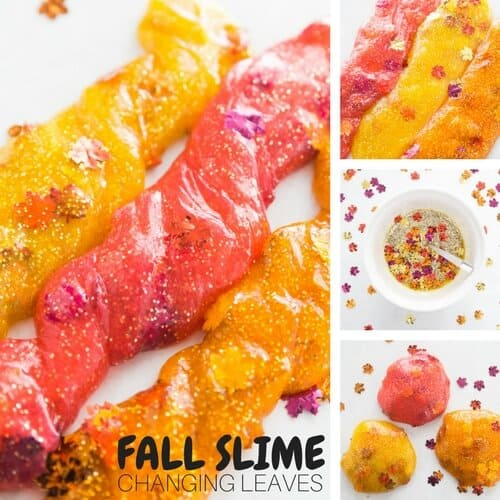 leaves slime for easy fall slime idea