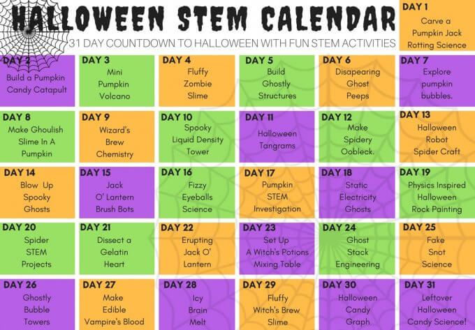 Halloween STEM Activities calendar including Halloween slime recipes!