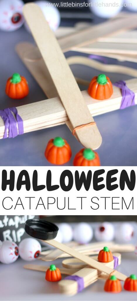 Halloween popsicle stick STEM activity for easy Halloween science experiments and STEM activities. Candy pumpkin activity with popsicle sticks and rubber bands to explore kids physics activities with a Halloween theme.