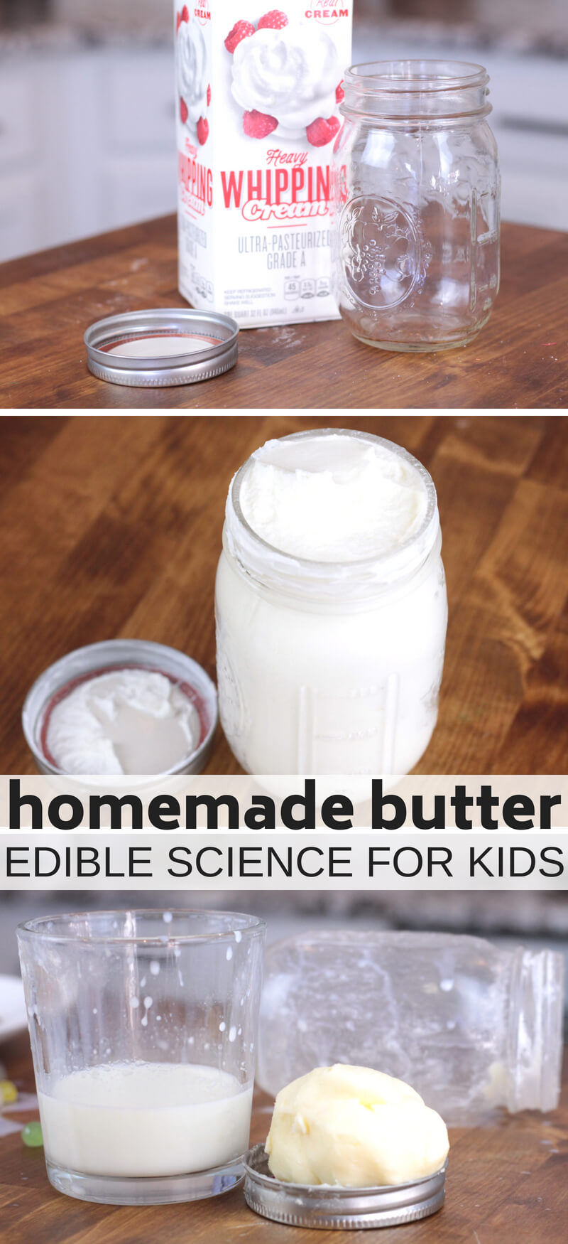 Make homemade butter for a classic science activity for kids. Homemade butter science is edible science your kids can eat!