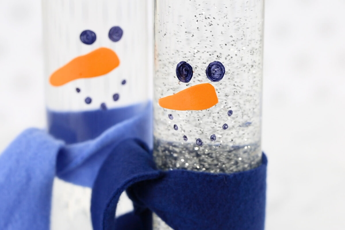 Snowman sensory bottle with glitter glue