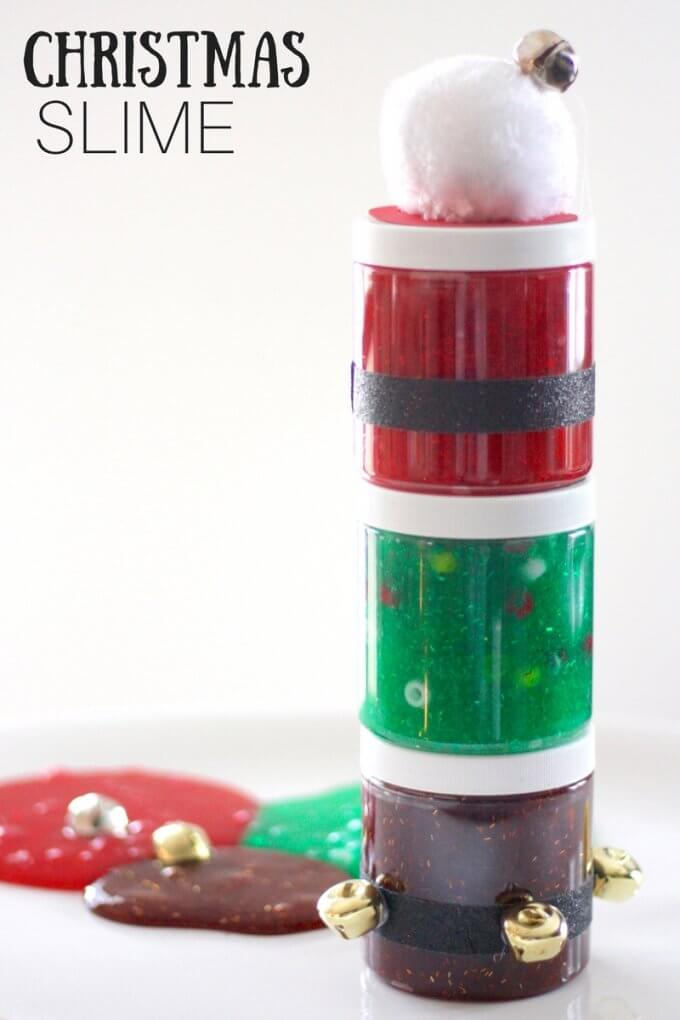 Homemade Christmas Slime Gifts with Decorated Slime Containers