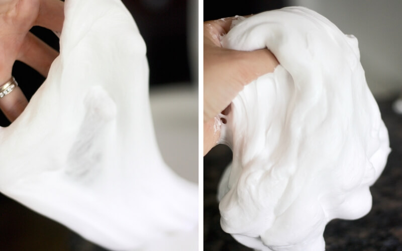 Shaving cream fluffy snow slime recipe for homemade slime