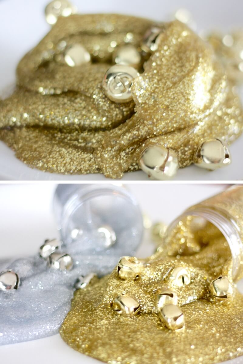 Gold and Silver Jingle Bell Christmas Slime Recipe Using Homemade Slime