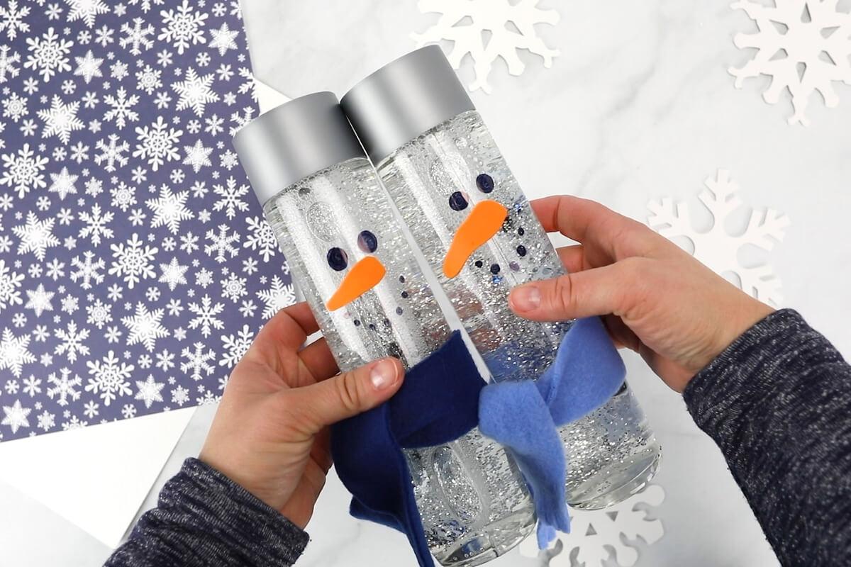 shaking snowmen sensory bottles