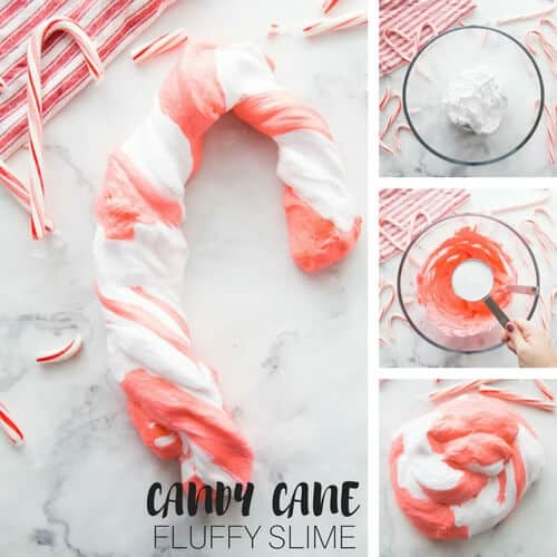 Candy Cane Fluffy Slime for Christmas Slime Recipes