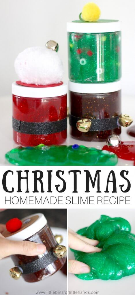 Tis the season to get creative with slime, and we are up to our elbows in slime over here doing just that! This time around we have been decorating our slime containers with festive Christmas themes. Our easy homemade Christmas slime recipes will fill your jars with awesome slime every time. Add your own fun holiday themes or try ours. Santa slime, reindeer slime, and Christmas tree slime are a hit!