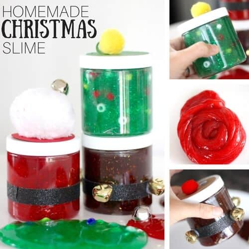 This super simple holiday slime recipe is the perfect science experiment for kids! #slime #STEM #science