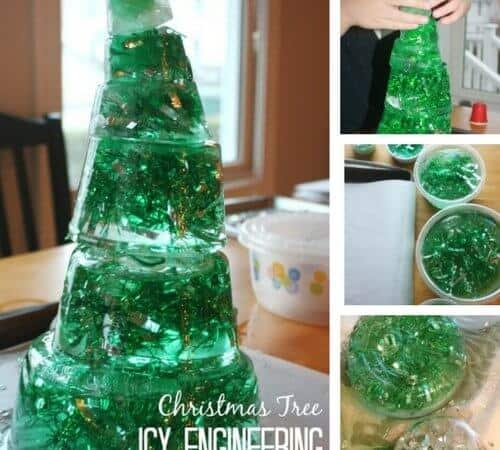 Icy Christmas Tree STEM Activity for Kids
