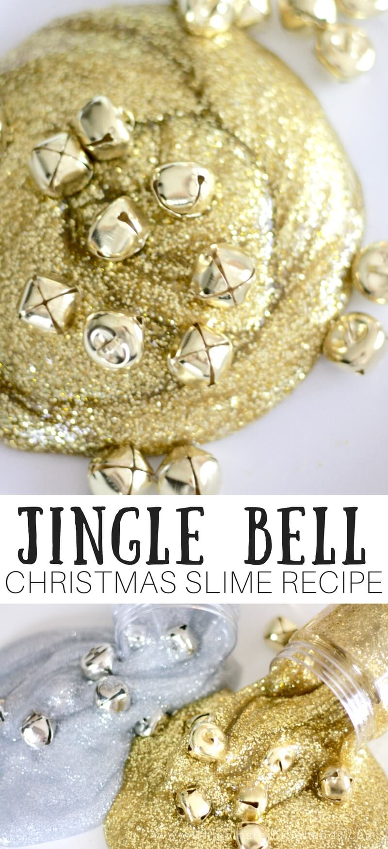 When I think of jingle bells, I always end up with the Christmas song stuck in my head. I found a few packages of these gold and silver bells at the local dollar store the other day, and I was instantly inspired. What was I inspired to do? Make slime of course and of course a festive jingle bell Christmas slime recipe was exactly what I needed. Sparkling gold and silver slime filled with bells is an awesome holiday activity.