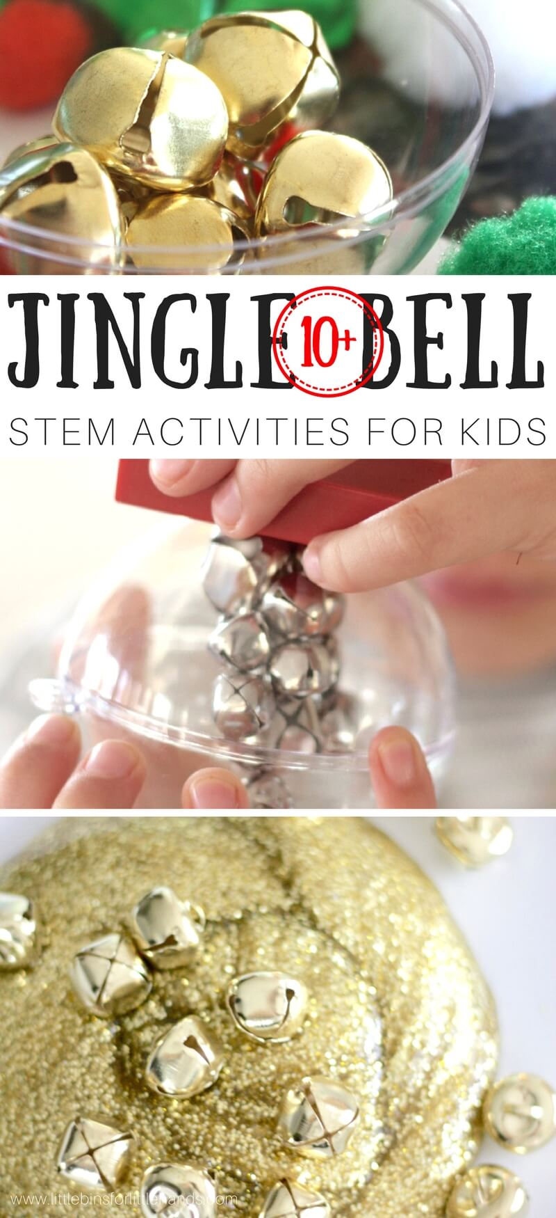You don't have to leave the jingle bells for Santa's sleigh and reindeer! We are going to show you how much fun it is to learn and play with them all season long using easy Christmas STEM activities. I love the sound of jingle bells, and that's one of the 5 senses too! Check out our jingle bell STEM activities to find something new and simple to set up this holiday season. We make science and STEM perfect for every season around here.