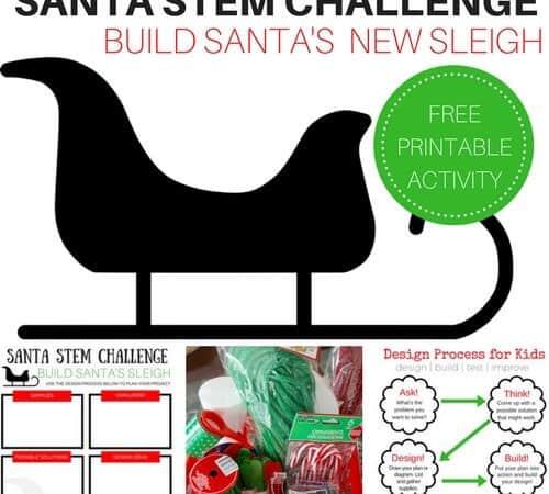 Printable Santa STEM Activity Challenge: Build a Sleigh