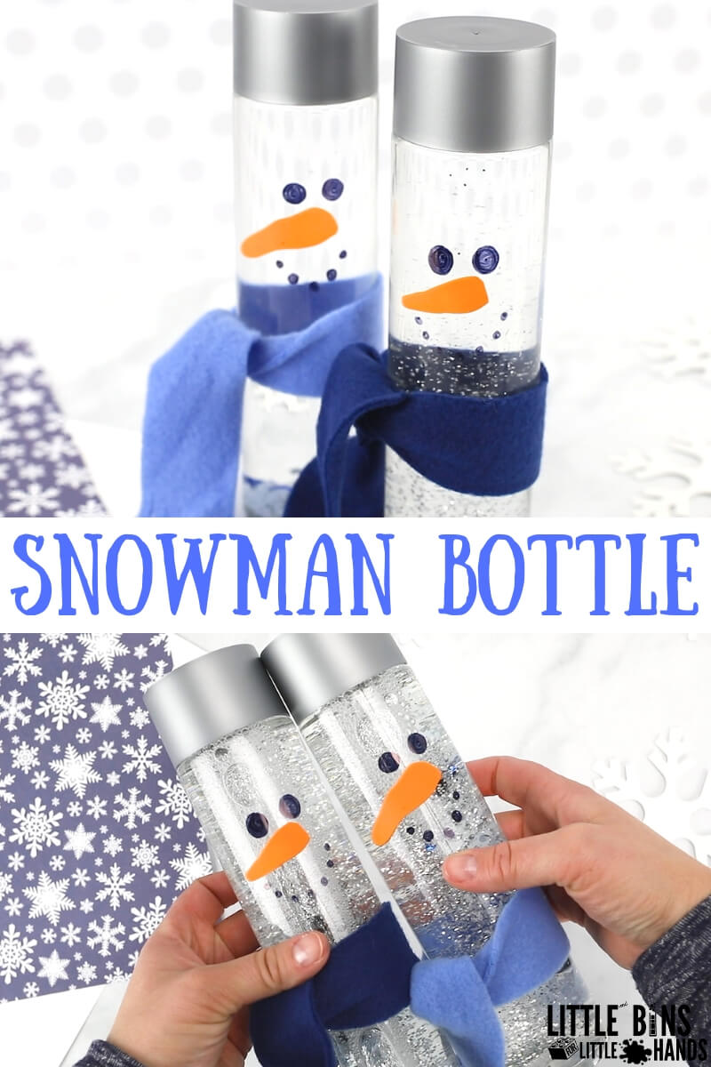 Easy to make snowman sensory bottle for kids winter activities