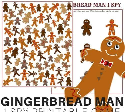 Gingerbread Man I Spy Search and Find Printable Game Sheet for Kids