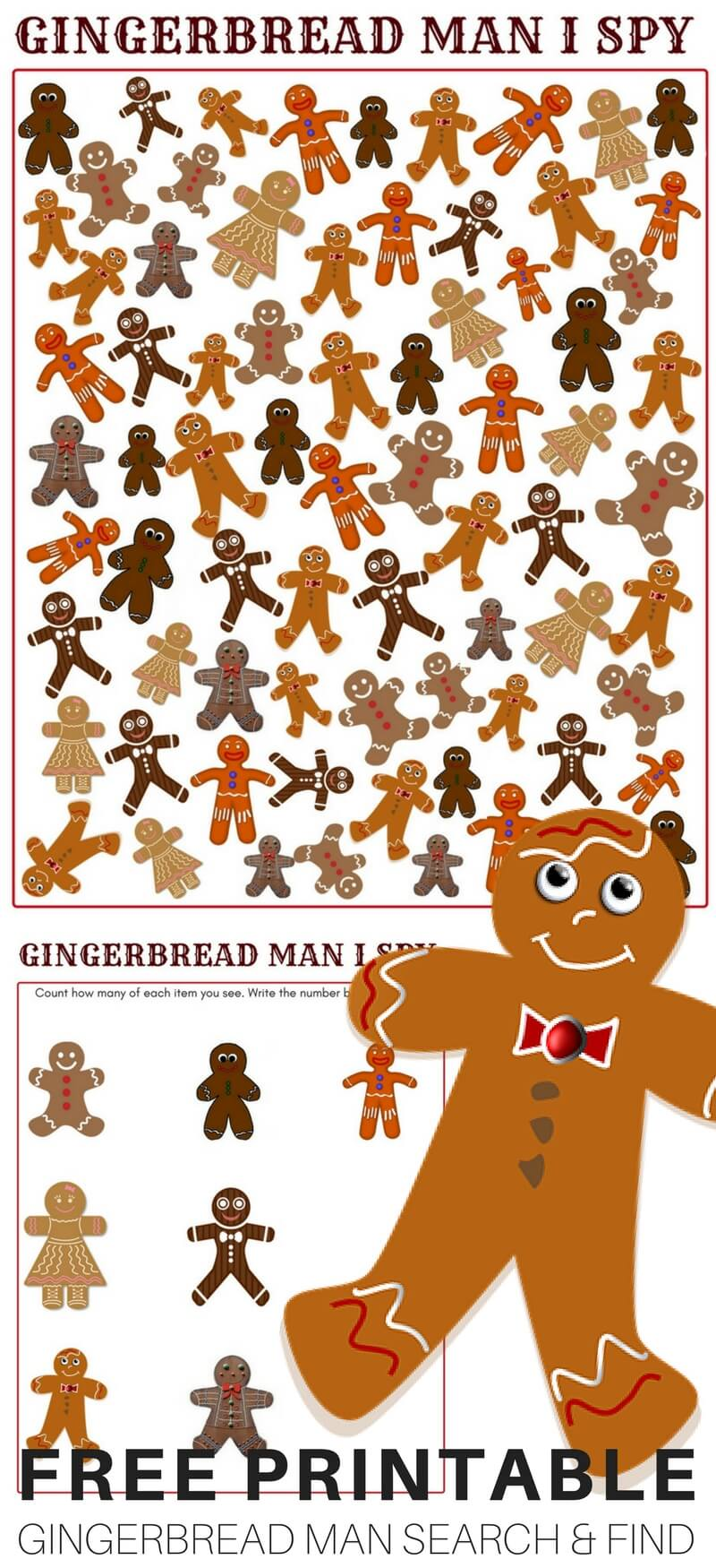 graphic relating to I Spy Printable identify Printable Gingerbread Person Recreation for Little ones Xmas Actions