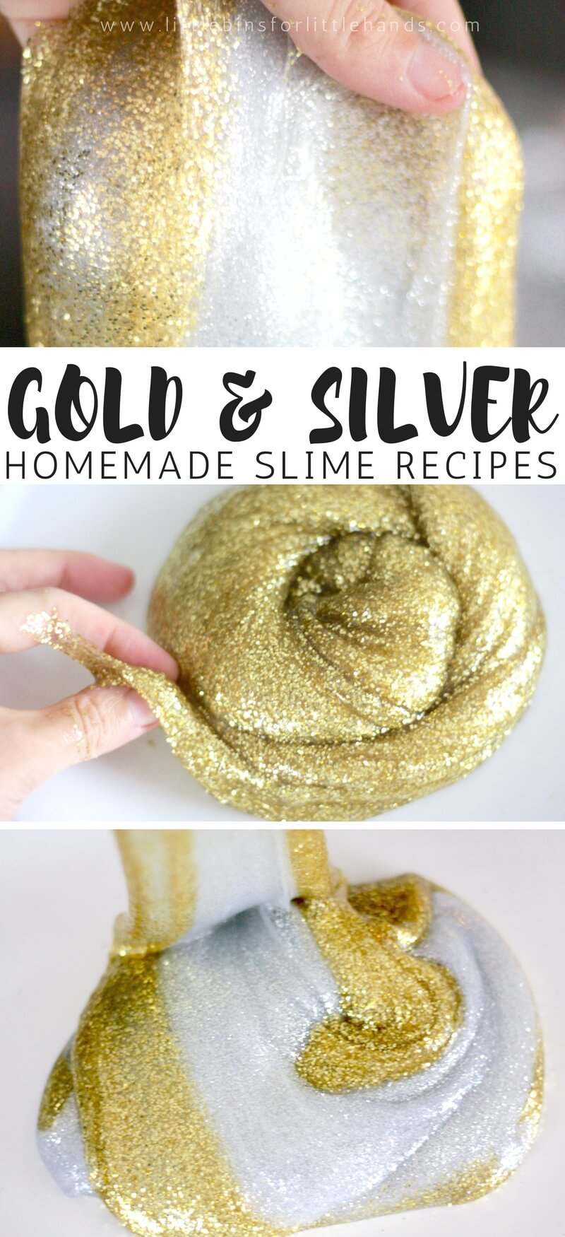 Absolutely gorgeous and glistening gold and silver slime recipes for kids to make! Learn how to easily make these two beautiful metallic slimes with our super simple and super stretchy slime recipe! There's a special ingredient we add in addition to using one of our favorite basic slime recipes. Homemade slime is awesome!